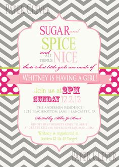 Girls baby shower invitation sugar & spice chevron, vintage digital file, printable. $13.00, via Etsy.
