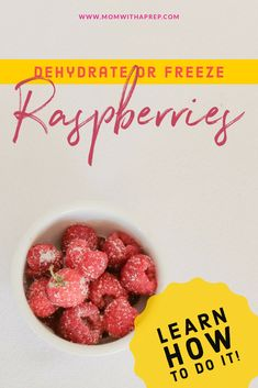 How to Dehydrate or Freeze Raspberries - Mom with a PREP Harvest Foods, Kombucha How To Make, Meals In A Jar, Pickling, Sauerkraut, Kefir, Learn To Cook, Fall Harvest, Raspberries