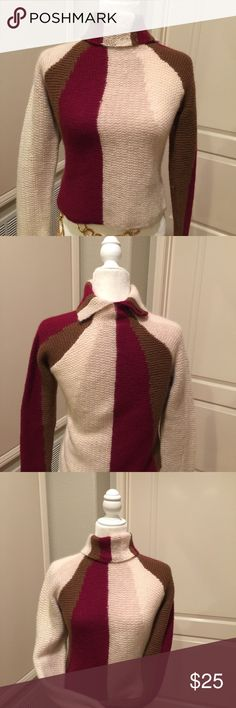 12 Little West 12th Street Warm Lambswool and Angora Sweater in Burgundy and cream color. It looks great with Any style jeans. 12 Little West 12th Street Tops