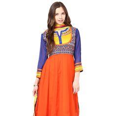 Blue and Orange Faux Georgette Anarkali Readymade Churidar Kameez