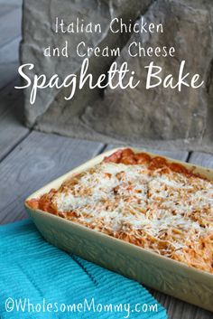 Baked Chicken Spaghetti {Italian Chicken and Cream Cheese - YUM!} My kids slurped it up. :) From WholesomeMommy.com