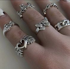 Grunge Jewelry, Funky Jewelry, Hand Jewelry, Cute Jewelry, Jewelry Rings, Jewelry Accessories, Jewlery, Cute Rings, Pretty Rings