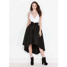 Tie One On High-Low Party Skirt BLACK ($33) ❤ liked on Polyvore featuring skirts, black, long flare skirt, long flared skirts, long high low skirt, black flared skirt and long maxi skirts