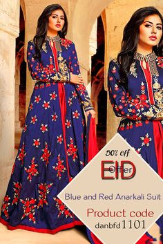 This #beautifulanarkali suit with intricate embroidery all over the #anarkalisuit, trendy pattern and lovely Blue and Red colour makes this #suit the best to wear in #weddingparties and events....Pair it up with high heels open #hair and bold #earings to get that Diva look in you.....Buy Now and Get 50% Discount for this #Eid