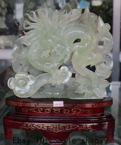 "16"" Chinese Natural Green Jade Wealth Money Fengshui Dragon Dragons Ruyi Statue"