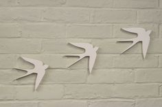 Flying Swallows Wall Hanging, in White.  (Set of 3)