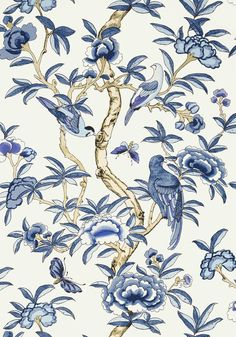 Giselle Wallpaper from the Imperial Garden Collection by Thibaut, with tropical birds amongst floral branches in blue and white.