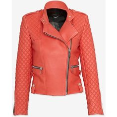 Barbara Bui Moto Leather Jacket: Coral (€825) ❤ liked on Polyvore featuring outerwear, jackets, coats, leather jacket, red zip jacket, coral jacket, workwear jacket, coral leather jacket and asymmetrical zipper jacket