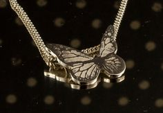 Necklace Pendant Sterling Silver Butterfly shape by lesgirouettes