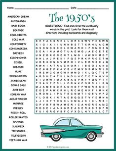 Culture Word Search Worksheet by Puzzles to Print Nursing Home Activities, Elderly Activities, Dementia Activities, Senior Activities, Fun Activities For Kids, Learning Activities, 1950s Culture, Nursing Home Gifts, Mocktails For Kids