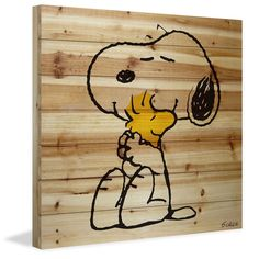Description: The are best friends. Snoopy and Woodstock are hugging in this Peanuts art printed on natural pine wood. This iconic image of the friends would be perfect in a baby's nursery or in a chil Charlie Brown Christmas, Charlie Brown And Snoopy, Snoopy Love, Snoopy And Woodstock, Diy Arts And Crafts, Wood Crafts, Peanuts Snoopy, Cartoon Pics, Rock Art