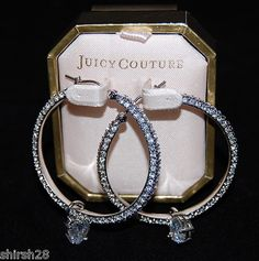 Juicy Couture Crystal Pave Hoop Earrings With Drop Hearts Bling