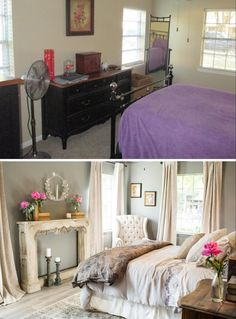 Fixer Upper Season 3 Chip and Joanna Gaines House Renovation The School House Master Bedroom Remodel Antique Mantel Elegant and Modern Style Master Bedroom Remodel, Home, Bedroom Makeover, Home Bedroom, Awesome Bedrooms, Small Bedroom, Fixer Upper Master Bedroom, Fixer Upper Bedrooms, Remodel Bedroom