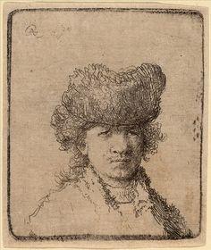 Rembrandt Harmenszoon van Rijn, Self Portrait in a Fur Cap: Bust, Etching on paper. Rembrandt Etchings, Rembrandt Self Portrait, Rembrandt Drawings, Rembrandt Paintings, James Ensor, Paul Klee Art, Harvard Art Museum, Leiden, Pencil Drawings