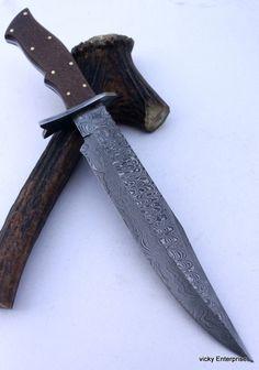 Damascus Knife Custom Handmade - 15.00 Inches MICARTA HANDLE BOWIE #Handmade