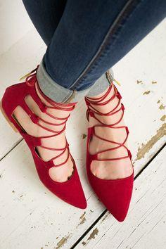 Graceful Lace Up Flat Shoes