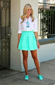 Mint skirt and matching Keds Passion For Fashion, Love Fashion, Womens Fashion, Petite Fashion, Keds, Mint Skirt, Summer Outfits, Cute Outfits, Work Outfits