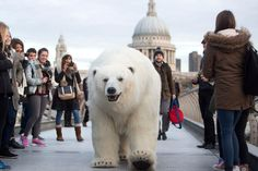 sky atlantic promoting new arctic drama with 8ft fully animated polar bear roaming round London