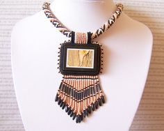 Statement Beadwork Bead Embroidery Pendant Necklace with by lutita, $95.00