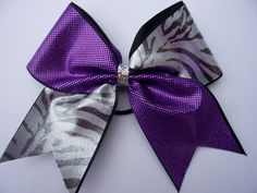 CHEER BOW purple and silver zebra by LeBow1cheerbows on Etsy, $10.00