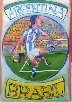 Argentina – Brasil, Clásicos del fútbol Mundial (3), acrylic on canvas, 70 x 100 cm. 2014