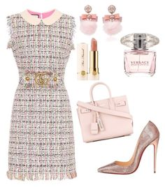 A fashion look from January 2018 featuring Gucci dresses, Christian Louboutin pumps and Yves Saint Laurent tote bags. Browse and shop related looks. Dressy Outfits, Girly Outfits, Stylish Outfits, Kpop Fashion Outfits, Mode Outfits, Girly Girl, Preppy Style, My Style, Looks Party