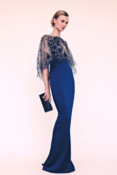 Vestido azul gala largo Formal día Marchesa Resort 2013