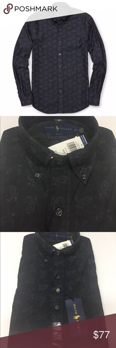Polo RL SlimFit Paisley Chambray Shirt Gray Small Polo Ralph Lauren Gray Men's Slim Fit Paisley Print Chambray Sport Shirt $198 Small NWT.    POLORalph Lauren  100% Authentic, Brand New with Tags  Men's Gray Slim Fit Paisley Print Chambray Sport Shirt. Made from soft dark-wash chambray, this slim-fitting paisley shirt is a staple for any wardrobe. Buttoned-down point collar Long sleeves. Buttoned barrel cuffs. Button front. Chest patch pocket. Box pleated back yoke. Shirttail hem. 100%…