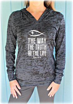 Christian Womens Workout Hoodie. The Way The Truth The Life. John 14 6. Running Burnout Hoodie. Christian Clothing. Fitness Motivation.