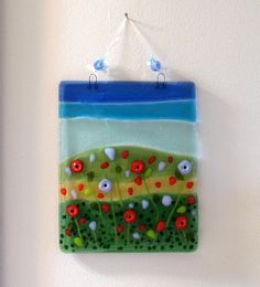 Fused Glass Sun Catcher, Glass Poppies Wall Art, Orange and Purple Poppy Field, Flowers Window Panel Glass Artwork, Glass Wall Art, Fused Glass Art, Stained Glass Art, Mosaic Glass, Window Glass, Window Art, Mosaic Art, Purple Poppies