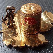 Для дома и интерьера ручной работы. Ярмарка Мастеров - ручная работа Подарочный авторский наперсток  мухомор на подставке Гном шахтёр. Handmade.