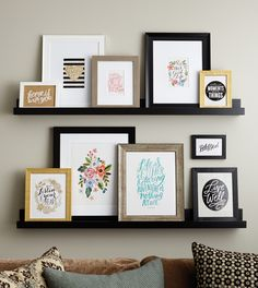 40 Ways to Bring Your Gallery Wall to The Next Level! Up your gallery wall game with these 40 amazing gallery wall ideas. Do you need a layout idea for your living room? Or behind your couch? How about in the bathroom? I've got you covered! Picture Shelves, Picture Wall, Photo Ledge, Ikea Picture Ledge, Photo Shelf, Wall Collage, Frames On Wall, Collage Ideas, Photowall Ideas