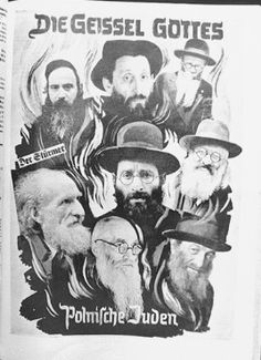 """An antisemitic photomontage entitled, """"The Scourge of God, Polish Jews,"""" that was used as a title page for a brochure issued by Der Stürmer. This image was presented as evidence at the Nuremberg trials."""