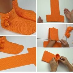Free Knitting Pattern for Two Needle Socks Crochet Fox, Knitted Slippers, Crochet Slippers, Easy Crochet, Knitting Patterns Free, Free Knitting, Crochet Patterns, Tricot D'art, Diy Crafts Crochet