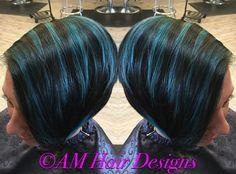 Mermaid blue Joico Intensities short hair undercut AM Hair Designs at Star Image