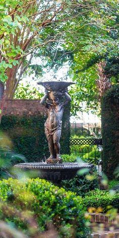 Formal Garden Design, Cottage Garden Design, Garden Art, Garden Fountains, Garden Statues, Fountain Garden, Water Fountains, Charleston Gardens, Charleston Sc