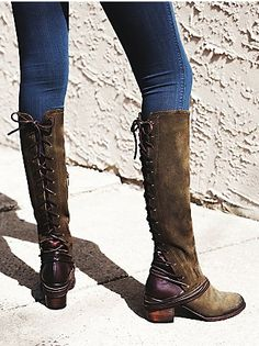 suede lace up back boots
