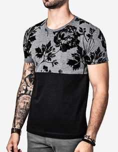 """Universe of goods - Buy """"Summer Streets Of Black Men Trendy Leaves Flowers Printed Stitching Round Collar Short Sleeve T-shirt"""" for only USD. T Shirt Manga, Stylish Men, Men Casual, Style Tumblr, Visual Kei, Swagg, Mens Tees, Cool T Shirts, Black Men"""