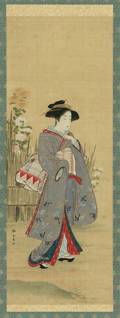 Japanese Art | Woman in lavendar near a fence with flowers | late 18th century | Katsukawa Shunsho | Edo period | Color and gold on silk panel | Japan