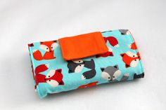 Foxes Crayon Wallet 8 Crayon Size with Paper by Threadbyktoo