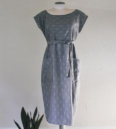 Cotton Stripe Pocket Shift Dress by West Oak Design