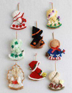 Holiday Mini Broom Dolls 2 Crochet Pattern Leaflet