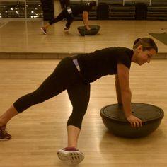 Core Work: Twisted BOSU Plank. Love BOSU workout the bosu is so much fun lol