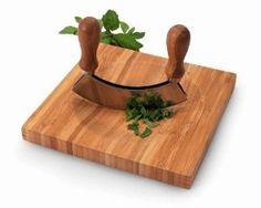 Amazon.com: Bamboo 8 inch Cutting Board with Mezzaluna: Kitchen & Dining