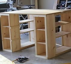 Hunny dew please: diy craft table - or work bench with great storage I would love if my hubby would build this for my craft room.