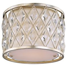 Metal flush mount with a latticework shade and crystal accents. $197 1- 100 WATT BULB Product: Flush mountConstruction Material: Me...