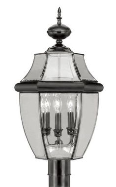 Outdoor Décor-Livex Lighting 235404 Monterey 3 Light Outdoor Black Finish Solid Brass Post Head with Clear Beveled Glass * Learn more by visiting the image link.