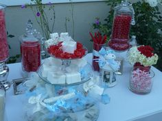 red and blue wedding candy table