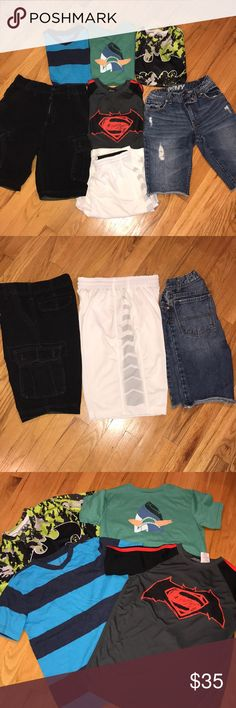 Bundle of boys clothes size 10/12 3pair of shorts, black cargo, jean cutoff and white workout shorts, 4 short sleeves, 2 superhero, 2 cotton! Everyday clothes, no signs of wear whatsoever, all in perfect condition, all items can be mixed and matched Other