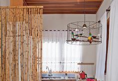 chickenwire lampshade...and a cute little colony of birdies inside! #lamp